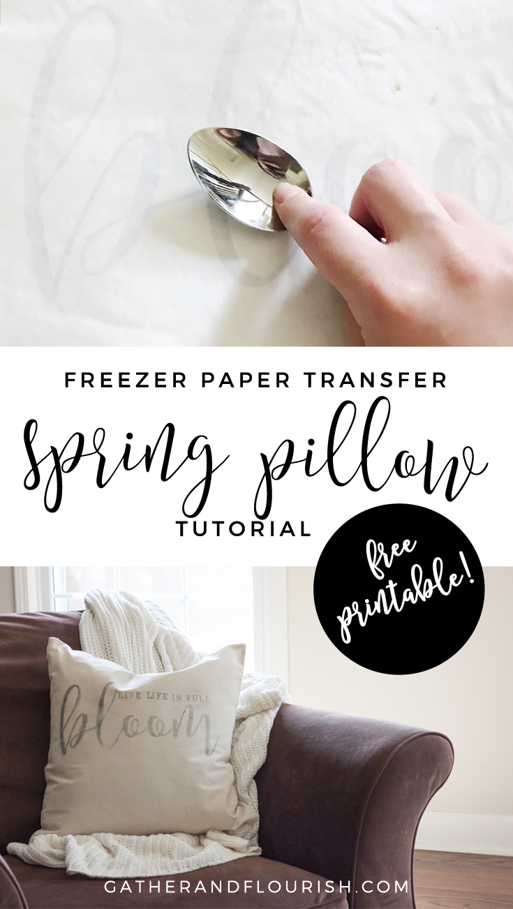 Spring pillow cover tutorial using freezer paper transfer method! Including free printable design!