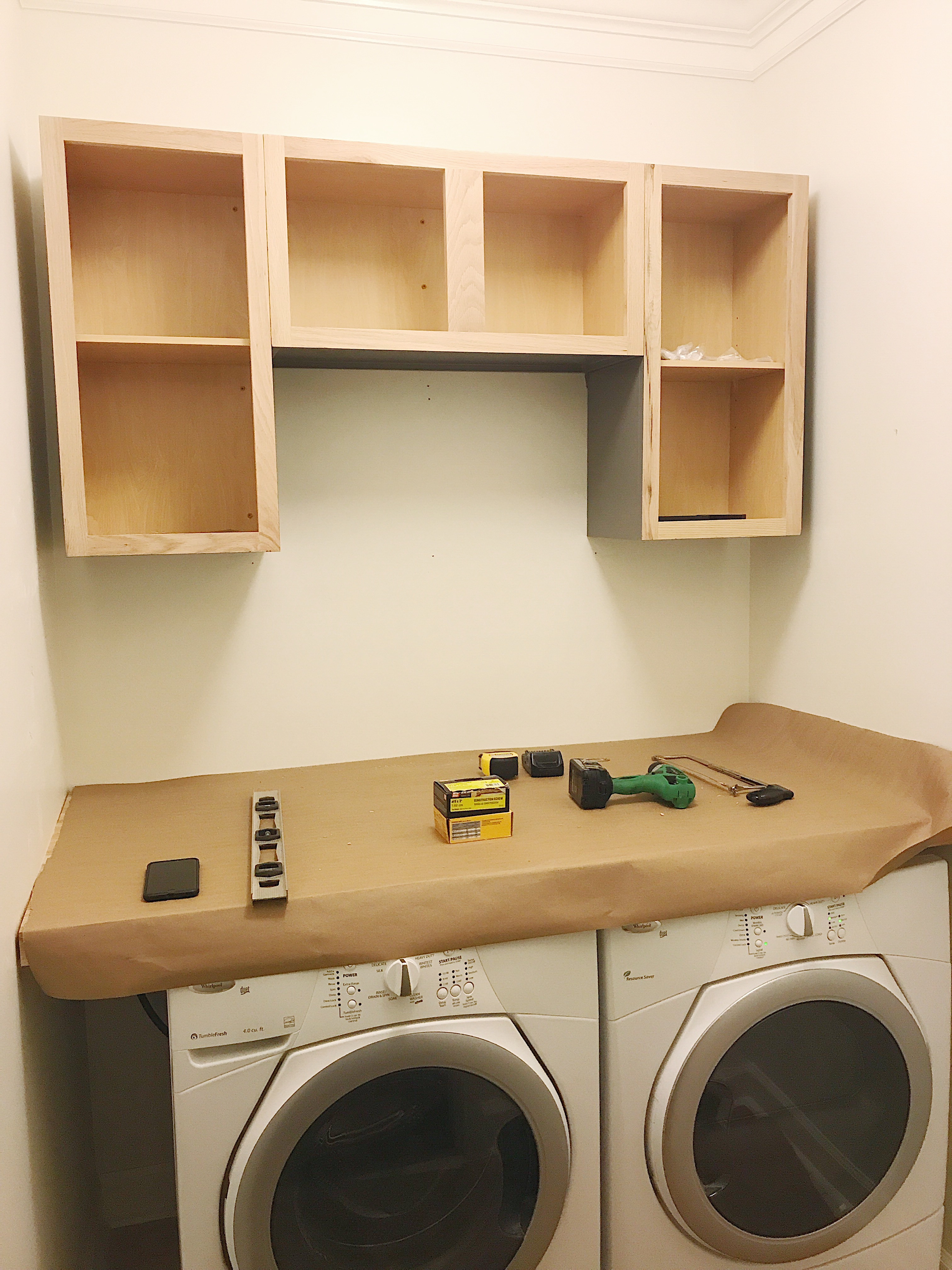 Farmhouse Laundry Room Installing Countertop and Cabinets | ORC Week 5