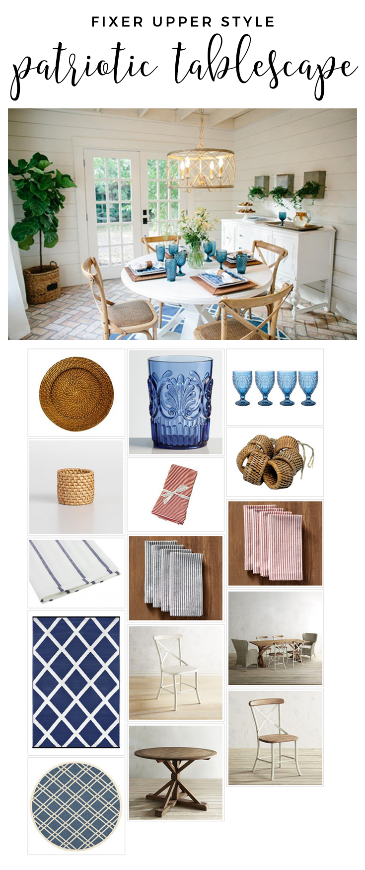 Fixer Upper Style Patriotic Tablescape! Recreate the look using this shopping guide!