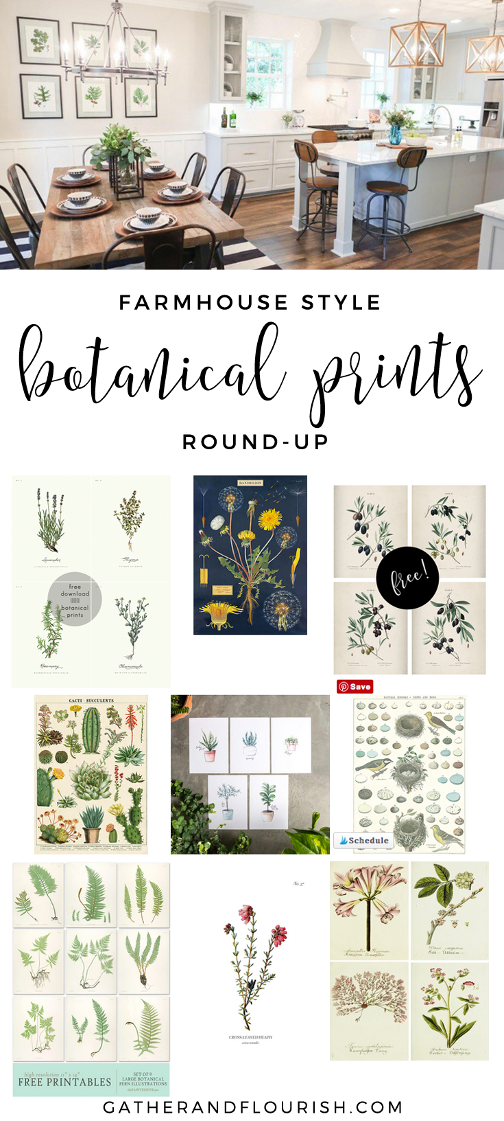 Farmhouse style botanical prints round-up! Free and budget-friendly farmhouse style botanical prints!
