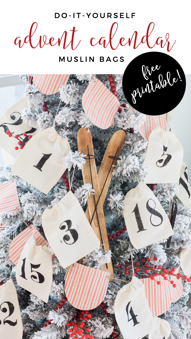 DIY Advent Calendar Bags! Easy Advent Calendar using muslin bags. FREE SVG stencil file included!