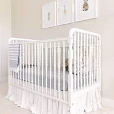 DIY No Sew Drop Cloth Crib Skirt